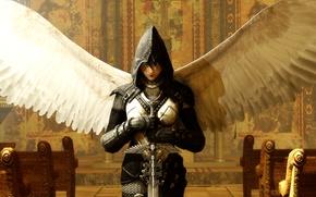 Картинка оружие, крылья, ангел, меч, доспехи, арт, angel, фанртастика