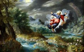 Обои Сотворение Солнца и Луны, картина, Ян Брейгель младший, мифология