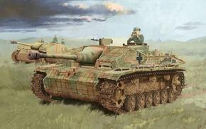 Картинка поле, трава, война, арт, маскировка, установки, командир, немецкие, III, Sturmgeschutz, Ausf.G, циммерит, самоходно-артиллерийские