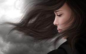 Картинка грусть, девушка, ветер, печаль, волосы, брюнетка, профиль
