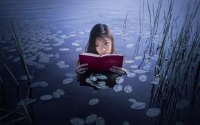 Картинка озеро, девушка, книга
