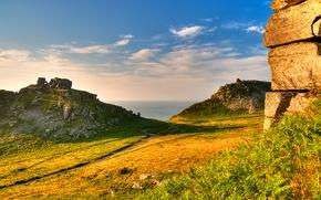 Картинка небо, трава, облака, горы, скала, эксмур, Exmoor