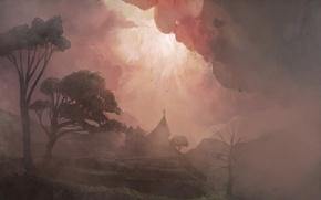 Обои туман, церковь, Рисунок, деревья