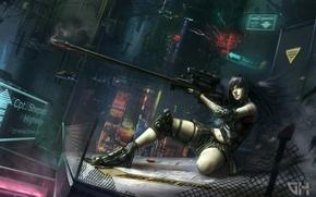 Картинка девушка, ночь, город, огни, оружие, сетка, арт, винтовка, Vadim Marchenkov