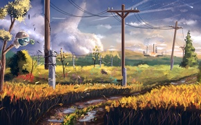 Картинка дорога, поле, столб, art