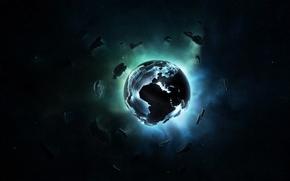 Картинка звезды, свет, земля, планета, Космос, space, minimalism, pixel