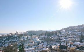 Картинка winter, snow, sunlight, Slovakia, daylight, Banská Štiavnica