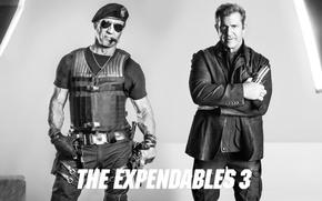 Картинка черно-белое, Сильвестр Сталлоне, Мэл Гибсон, The Expendables 3, Mel Gibson, Неудержимые 3, бронежилет, очки, перчатки, ...