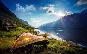 Обои рассвет, Oppland Fylke, Vaga Kommune, озеро, Norway, Норвегия, горы, лодка, солнце