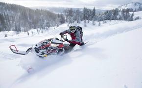 Картинка Снег, Snow, снегоход, Polaris, snowmobile, Полярис
