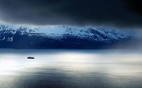 Картинка sky, sea, landscape, coast, nature, water, winter, clouds, rocks, snow, fog, Mountains, ship