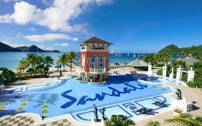 Картинка океан, pool, курорт, Карибы, Caribbean, luxury resort, St.Lucia