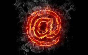 Картинка Огонь, дым, символ, собака, темный фон