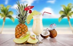 Обои море, небо, облака, вишня, пальмы, стол, бокал, кокос, коктейль, summer, ананас, food, трубочки, cocktail, шпажка