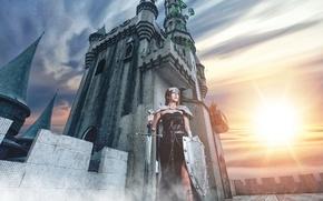 Картинка девушка, замок, меч, щит