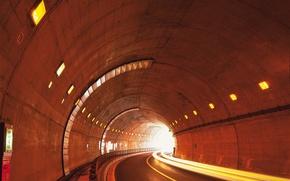 Картинка дорога, огни, Туннель