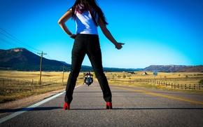 Картинка дорога, девушка, Stop Ahead