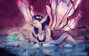 Картинка глаза, взгляд, девушка, украшения, лицо, волосы, лягушка, крылья, корона, платье, фея, живопись, ледит
