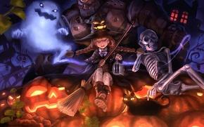 Картинка кошка, кот, шляпа, приведение, арт, скелет, девочка, тыквы, Halloween, Хэллоуин, ведьма, метла, голем, damin