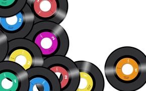 Картинка цветные, белый фон, винил, диски, пластинки