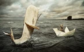 Картинка море, лодка, ситуация, кит