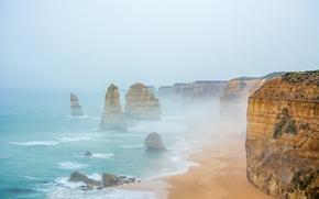 Обои 12 apostles, rocks, cliffs, sea, sand, water, mist, Australia