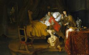 Картинка картина, религия, мифология, Гербранд ван ден Экхоут, Исаак Благословляет Иакова