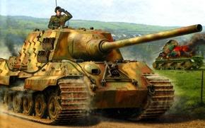 Обои Рисунок, Jagdpanzer VI, Тяжёлый, Jagdtiger, ПТ САУ, Ausf. B, 12.8cm PaK44, Истребителей танков, Sd.Kfz.186, auf ...