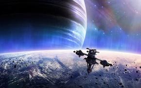 Картинка звезды, планеты, космическая станция