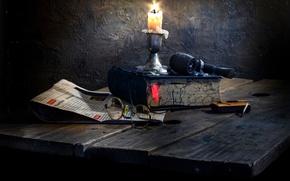 Картинка свеча, трубка, очки, книга, Simple life
