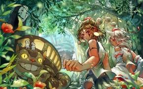 Картинка лес, аниме, арт, девочка