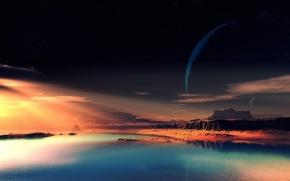 Картинка небо, скалы, чужая планета, фантастический пейзаж
