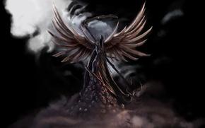 Картинка туман, смерть, фантастика, крылья, черепа, коса, черный фон, темный ангел