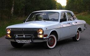 Картинка дорога, ретро, фон, обои, СССР, Волга, Volga, Газ 24
