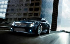 Картинка дорога, дома, Auto, Cadillac CTS-V