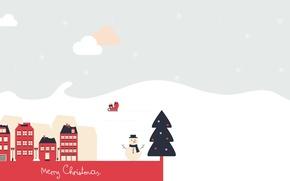 Обои Merry Christmas, ёлка, снеговик, Новый год