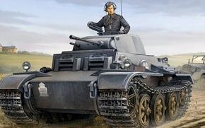 Картинка рисунок, арт, PzKpfw II, Panzerkampfwagen II Ausf. J, немецкий лёгкий танк времён Второй мировой войны, …
