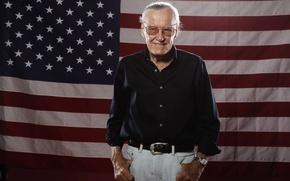 Картинка United States, flag, genius, Stan Lee, idol