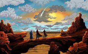 Картинка небо, облака, пейзаж, люди, скалы, пустыня, живопись
