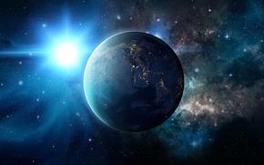 Картинка космос, звезды, фантастика, планеты