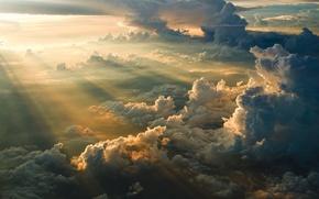 Картинка облака, восход, высота, утро