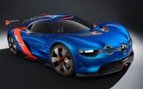 Картинка Concept, концепт, Renault, полумрак, диски, Рено, передок, Алпайн, Alpine, A110-50