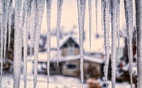 Картинка лед, зима, стекло, макро, снег, природа, дом, лёд, сосульки, размытость