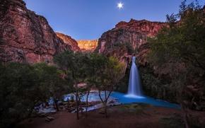 Картинка Arizona, rocks, waterfall, Grand Canyon, sandstone, full moon, Havasupai Reservation, Havasu Falls, aquamarine, southwest, warming …
