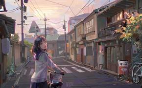 Картинка велосипед, столбы, провода, дома, Япония, переход, Japan, школьница, art, улочка, gasone, матроска