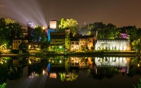 Обои ночь, Италия, фото, Turin, дома, река, город