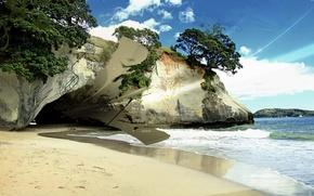 Обои Пещера, волны, берег, песок