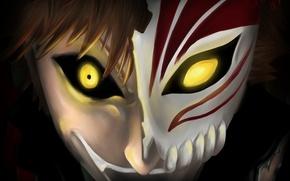 Картинка взгляд, тьма, смех, маска, парень, Bleach, Блич, kurosaki ichigo, art, бешеный, альтер эго, horineru