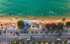 Картинка крыша, песок, море, пляж, небо, вода, закат, отдых, краски, берег, остров, высота, красиво, summer, отель, …