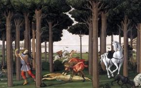 Картинка море, деревья, горы, люди, лошадь, собака, картина, жанровая, мифология, Сандро Боттичелли, История Настаджио Дельи Онести …